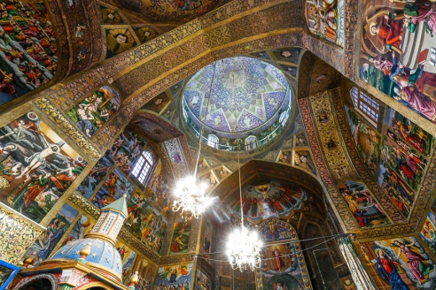 Interior of Vank Cathedral in Isfahan Iran